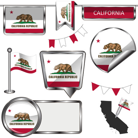 glossy icons: Vector glossy icons of flag of California on white