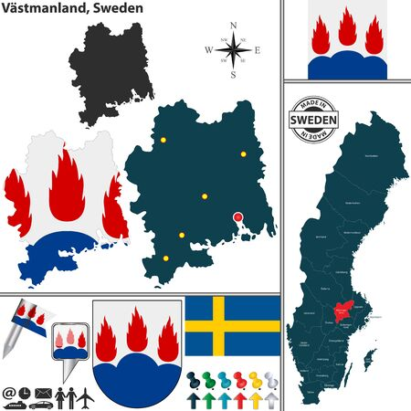 condado: Vector map of county Vastmanland with coat of arms and location on Sweden map Ilustra��o