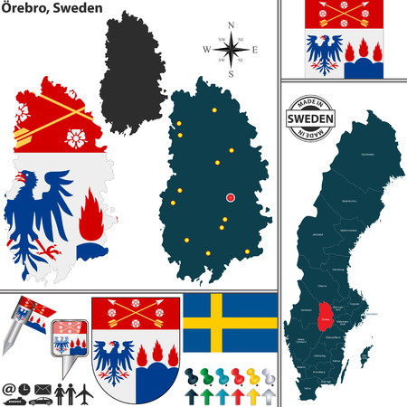 sweden map: Vector map of county Orebro with coat of arms and location on Sweden map