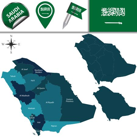 saudi: Vector map of Saudi Arabia with named divisions and travel icons