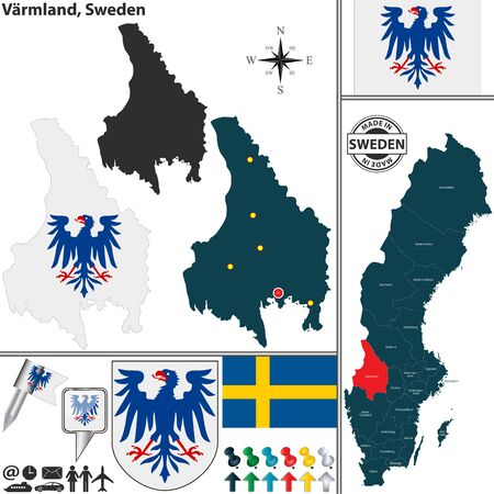 karlstad: Vector map of county Varmland with coat of arms and location on Sweden map