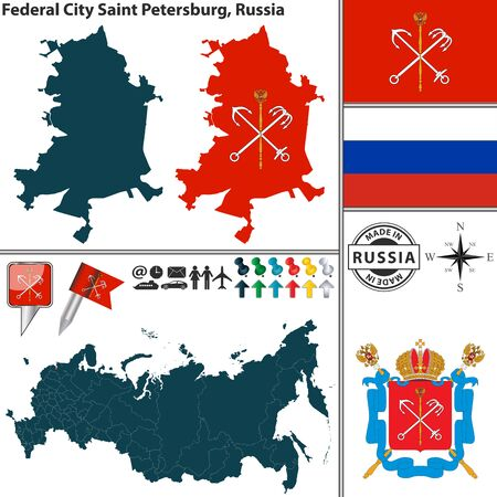 city coat of arms: Vector map of Federal city Saint Petersburg with coat of arms and location on Russian map