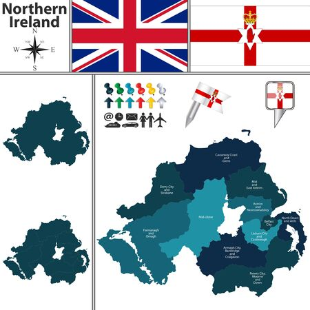 subdivisions: Vector map of Northern Ireland with subdivisions and flags