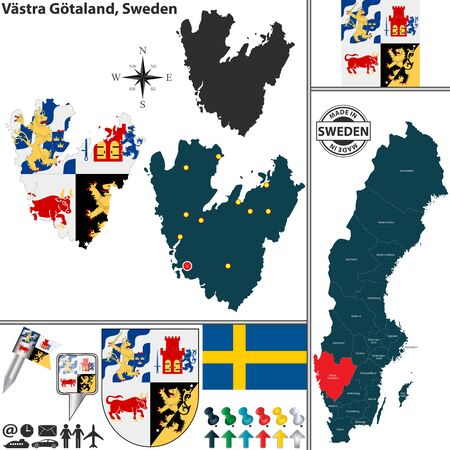 sweden map: Vector map of county Vastra Gotaland with coat of arms and location on Sweden map