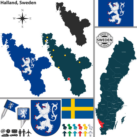 sweden map: Vector map of county Halland with coat of arms and location on Sweden map
