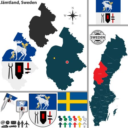 sweden map: Vector map of county Jamtland with coat of arms and location on Sweden map Illustration