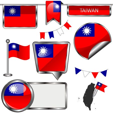 taiwanese: Vector glossy icons of flag of Taiwan on white