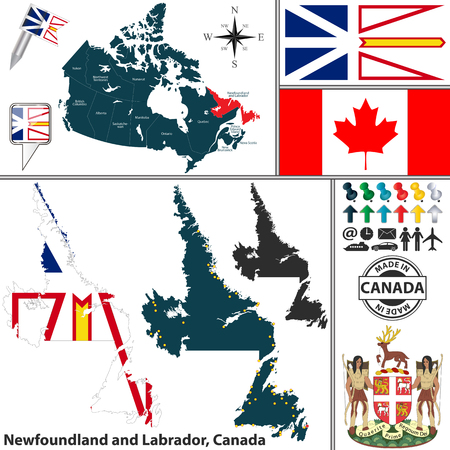 newfoundland: Vector map of state Newfoundland and Labrador with coat of arms and location on Canadian map