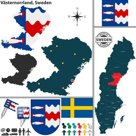 sweden map: Vector map of county Vasternorrland with coat of arms and location on Sweden map