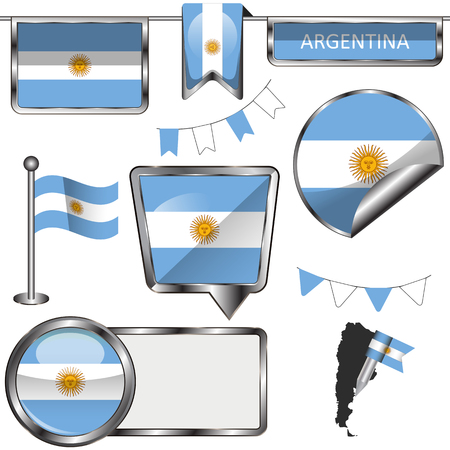 argentine: Vector glossy icons of flag of Argentina on white
