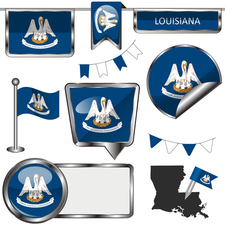 baton rouge: Vector glossy icons of flag of Louisiana on white