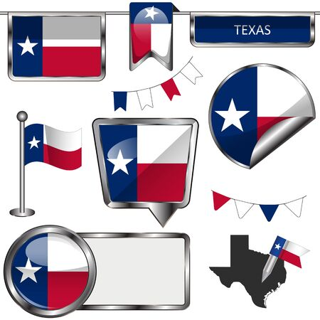 tx: Vector glossy icons of flag of Texas on white