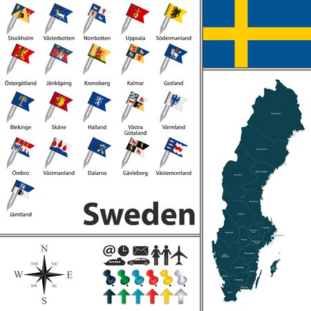Vector map of Sweden with regions with flags Illustration