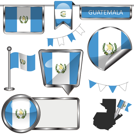 glossy icons: Vector glossy icons of flag of Guatemala on white Illustration