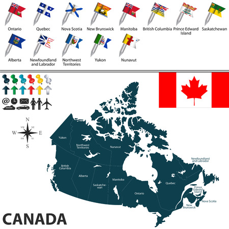 edward: Vector map of Canada with regions with flags on white