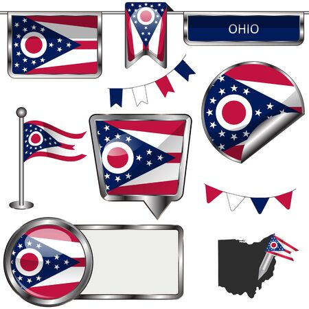 Vector glossy icons of flag of Ohio on white