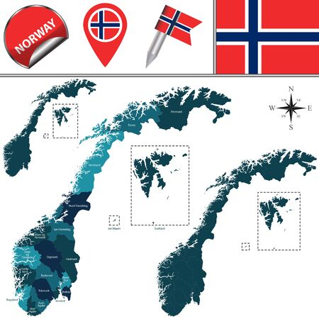 divisions: Vector map of Norway with named divisions and travel icons Illustration