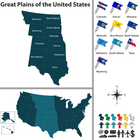 great plains: Vector set of Great Plains of the United States with flags and map on white background