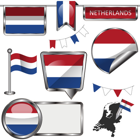 glossy icons: Vector glossy icons of flag of Netherlands on white Illustration