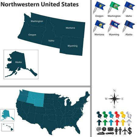 Vector set of Northwestern of United States with flags and map on white background Stock fotó - 48346771