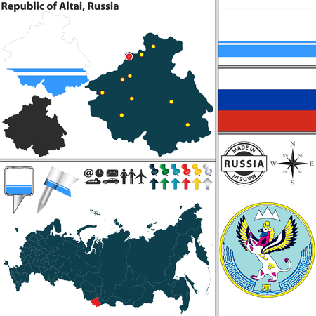 altai: Vector map of state Republic of Altai with coat of arms and location on Russian map