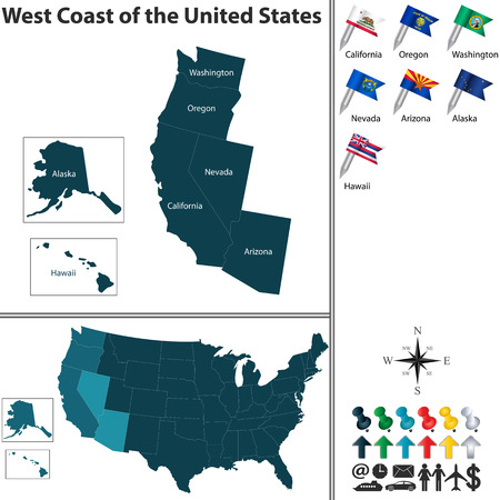oregon coast: Vector set of the West Coast of United States with flags and map on white background