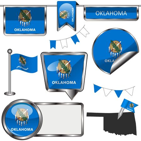 oklahoma: Vector glossy icons of flag of state Oklahoma on white Illustration