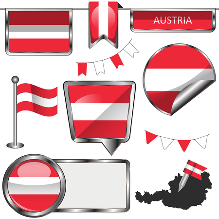austria: Vector glossy icons of flag of Austria on white