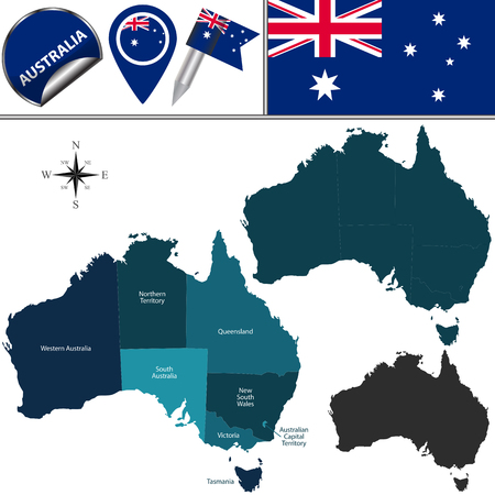 aussie: Vector map of Australia with named divisions and travel icons