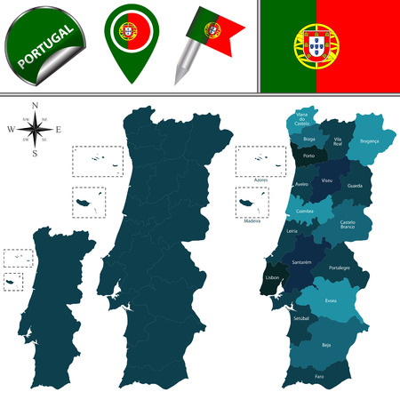 divisions: map of Portugal with named divisions and travel icons