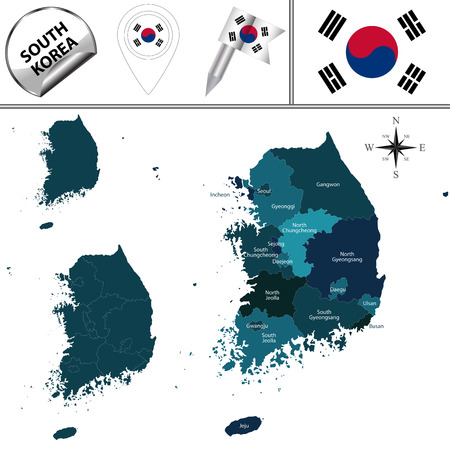 map of South Korea with named divisions and travel icons