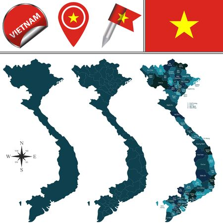 province: map of Vietnam with named divisions and travel icons