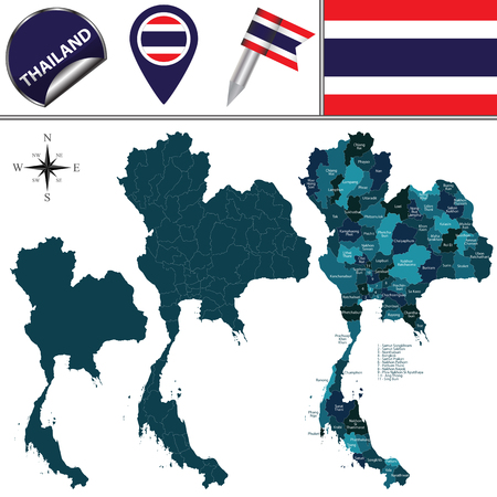 Carte de la Thaïlande avec les divisions nommées et les icônes de voyage Banque d'images - 49136404