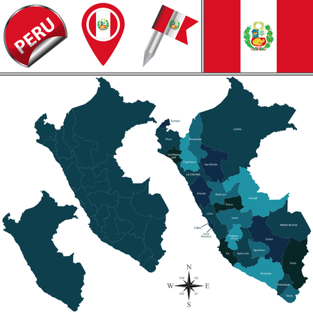 ancash: map of Peru with named divisions and travel icons Illustration