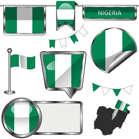 flag icons: glossy icons of flag of Nigeria on white Illustration