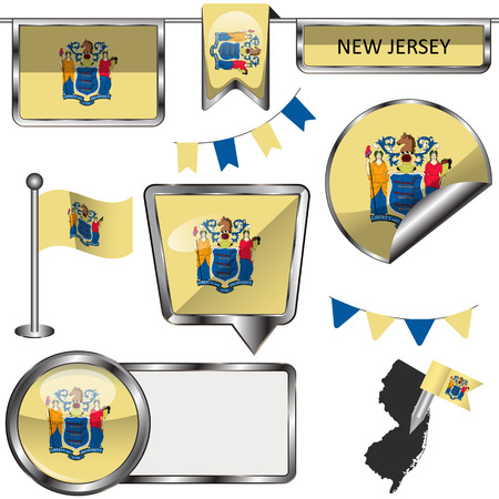new jersey: glossy icons of flag of state New Jersey on white