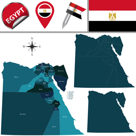 divisions: map of Egypt with named divisions and travel icons Illustration
