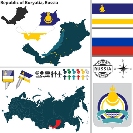 ulan ude: map of state Republic of Buryatia with coat of arms and location on Russian map