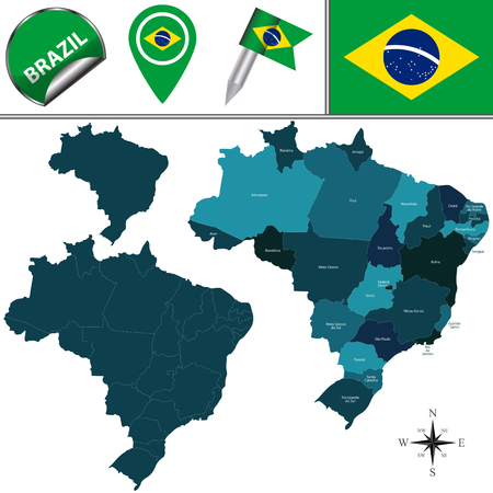 divisions: map of Brazil with named divisions and travel icons Illustration