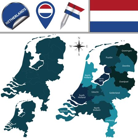 divisions: map of Netherlands with named divisions and travel icons
