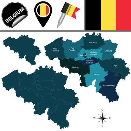 belgium: map of Belgium with named provinces and travel icons.