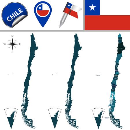 bandera chilena: mapa de Chile con las regiones con nombre y los iconos de viajes