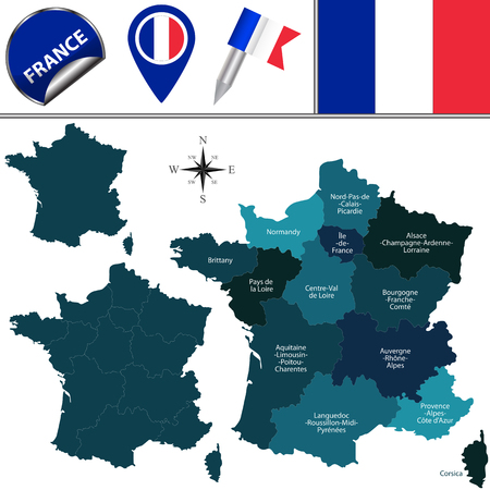 number 13: map of France with named regions and travel icons. According to the law in 2014 by French Parliament that reduced the number of regions from 22 to 13.