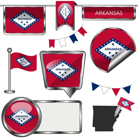 little rock: glossy icons of flag of state Arkansas on white