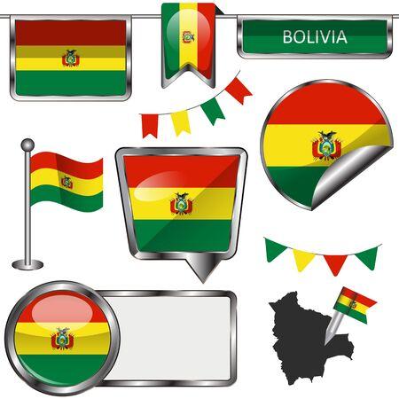 mapa de bolivia: Iconos brillantes de la bandera de Bolivia en blanco