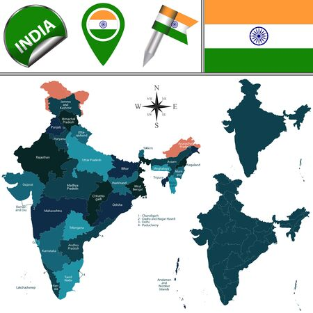 named: map of India with named states and union territories and travel icons