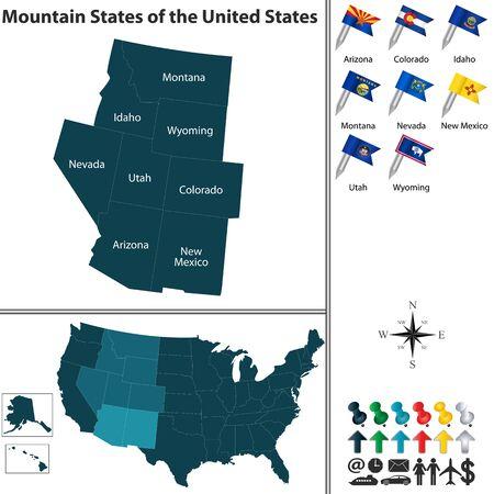 플래그와지도 흰색 배경에 미국의 산 상태 집합 일러스트