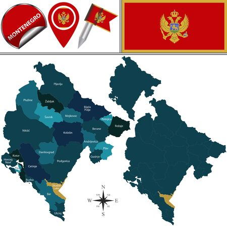 municipalities: map of Montenegro with named municipalities and travel icons