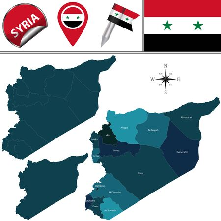 divisions: map of Syria with named divisions and travel icons