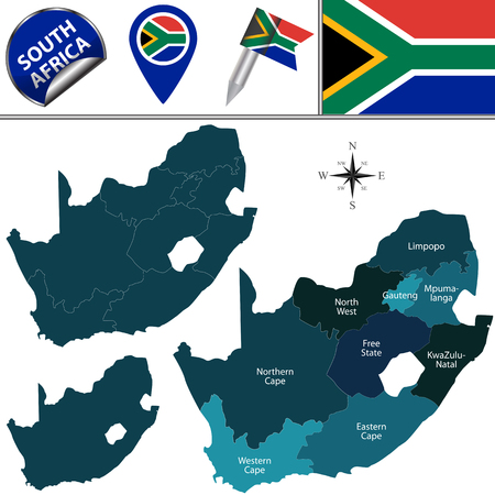 kwazulu natal: map of South Africa with named provinces and travel icons